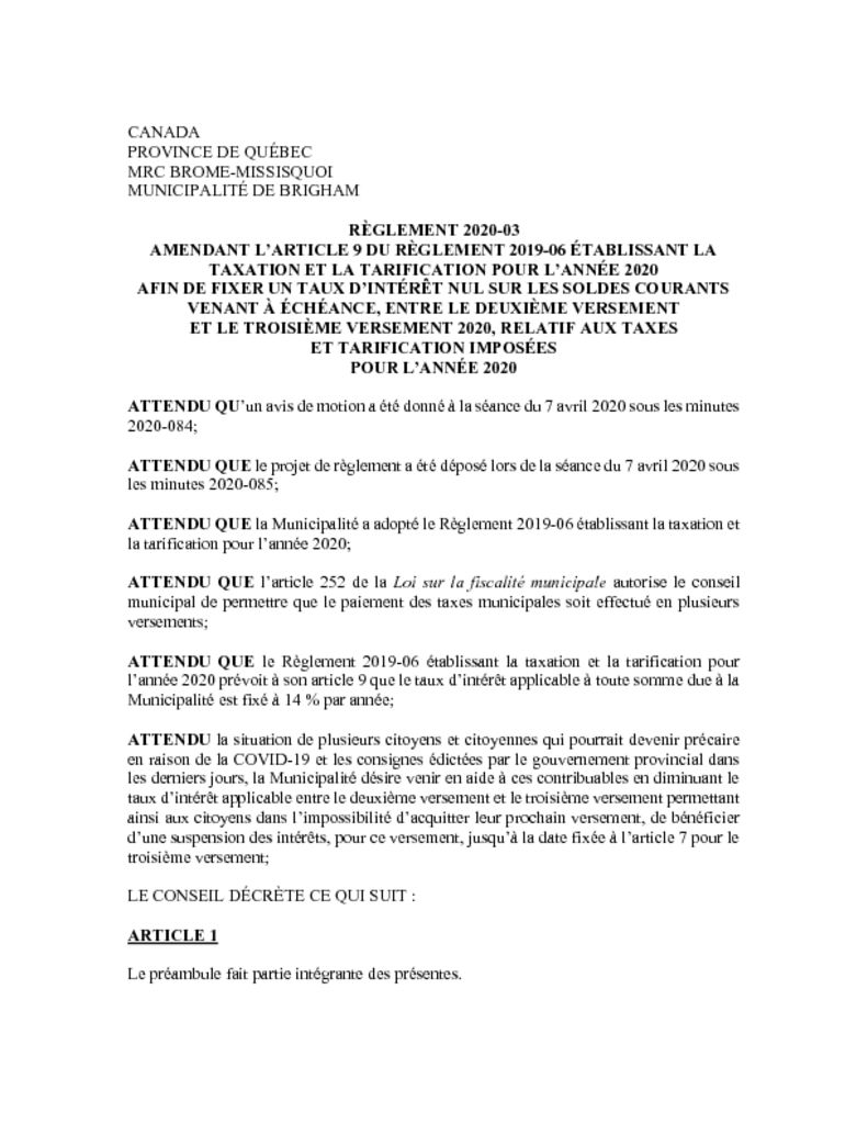thumbnail of Reglement. 2020-03 amendant article 9 du reglement 2019-06