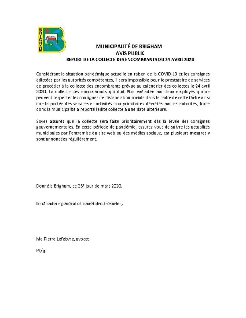 thumbnail of Report de la collecte des encombrants du 24 avril 2020