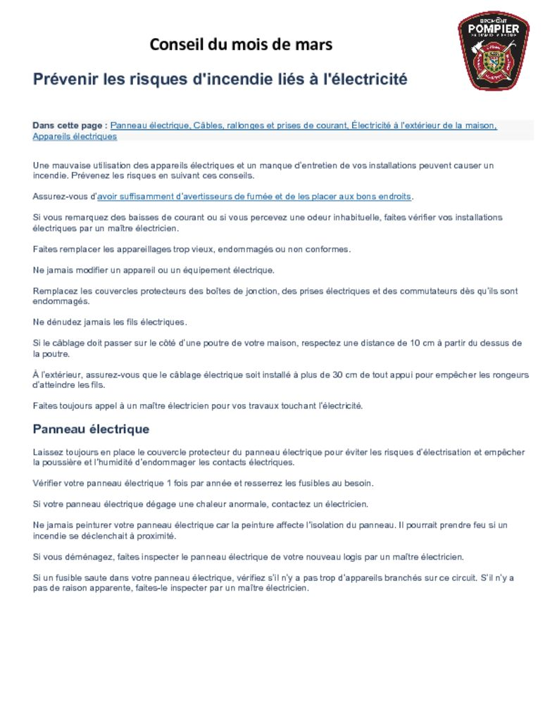 thumbnail of Service des Incendies – Conseil du mois de mars 2021