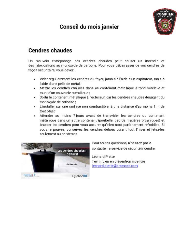 thumbnail of Service des Incendies – Conseil du mois janvier 2021