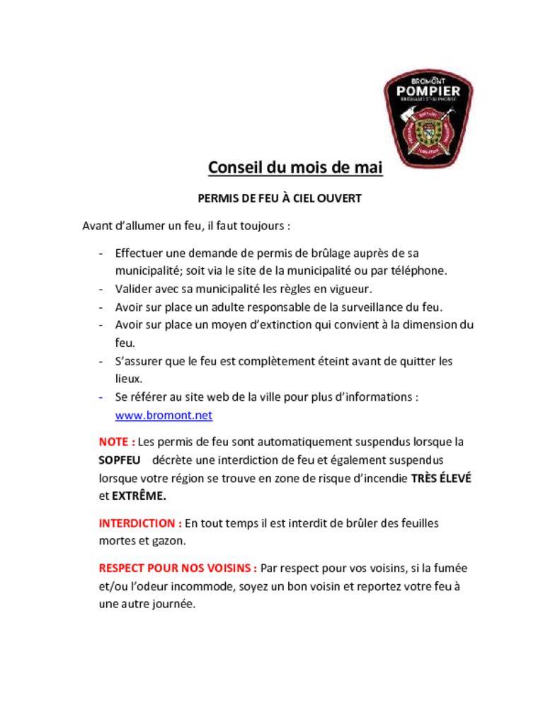 thumbnail of Service des Incendies – Conseil du mois mai 2021