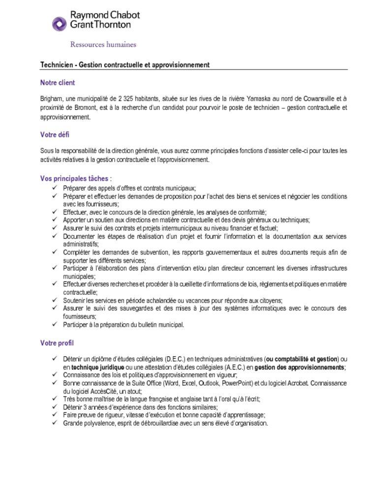 thumbnail of Technicien – Gestion contractuelle et approvisionnement