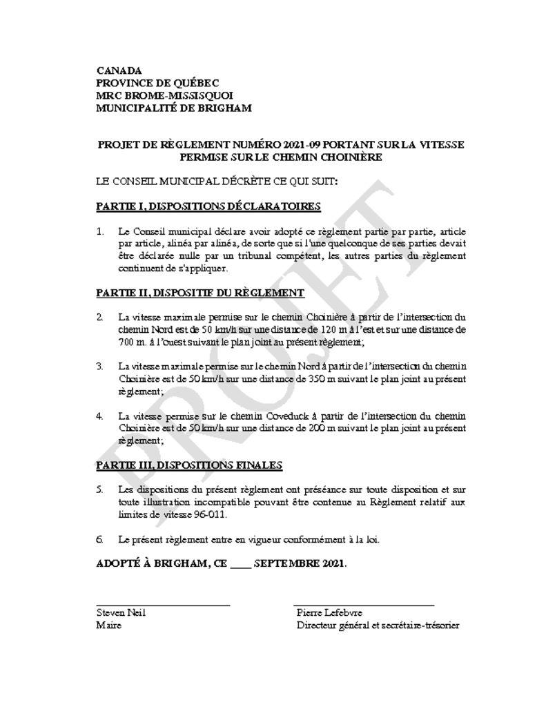 thumbnail of pROJET Règlement 2021-09 vitesse sur Choinière (projet)